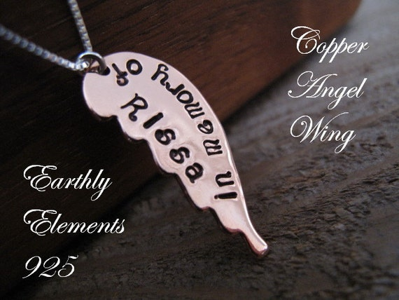 Angel Wing Remembrance Necklace  -  in Copper  -  Great Gift for Someone who has Lost a Loved One - A Memorial Token