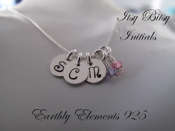 A Trio of Itsy Bitsy initial charms in Sterling Silver