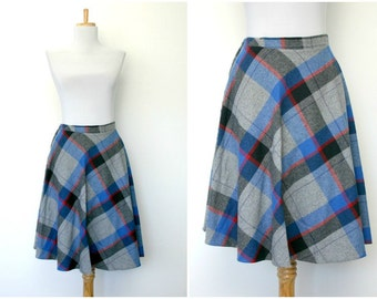 Vintage 60s plaid wool skirt (small)