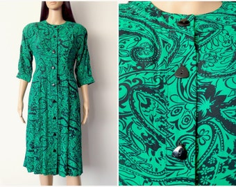 80s green graphic paisley dress (small)