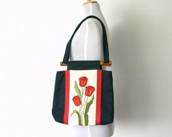 Vintage embroidered navy handbag red tulips cross stitch