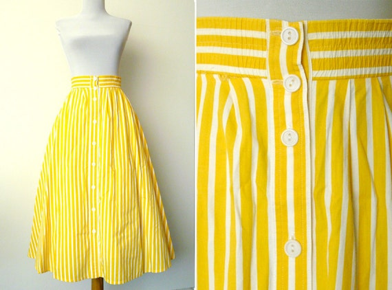 Vintage 80s summer yellow striped full skirt (xl)