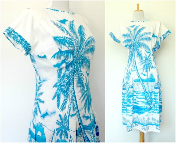 Vintage 80s white novelty print tropical dress African (small - medium)