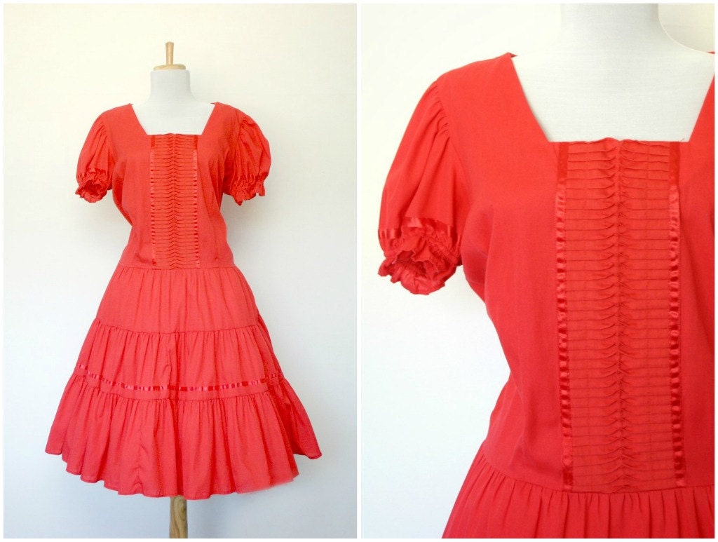 Vintage 70s red country western dress Rockmount Ranch Wear