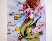 Mermaid with Tropical Fish watercolor print, signed with handpainted details-SALE