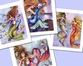 Ocean Mermaid watercolor painting prints, DISCOUNTED set of 4
