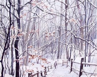 Winter Snow Trail landscape, original watercolor painting