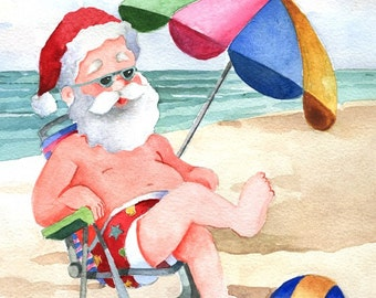 Beach Umbrella Santa watercolor print, signed and matted