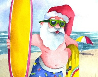 Surfing Santa watercolor print, signed and matted