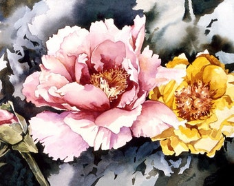 Tree Peony Flower watercolor painting print, signed and matted