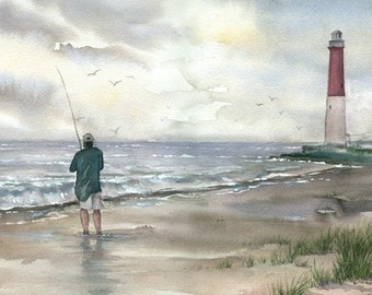 Lighthouse and Fisherman watercolor print, signed and matted
