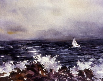 Boat on Stormy Seas watercolor print, signed and matted