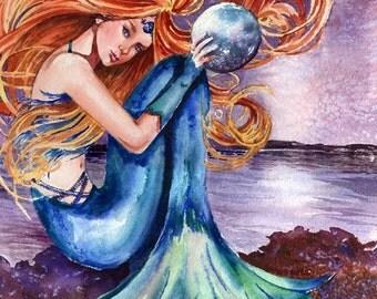 Night Mermaid with Orb watercolor painting print