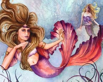 Flaming Underwater Mermaid watercolor painting print