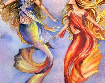 Decorative Mermaids watercolor painting print