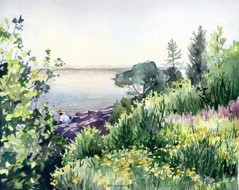 Mountain Lake and Meadows, matted GICLEE print