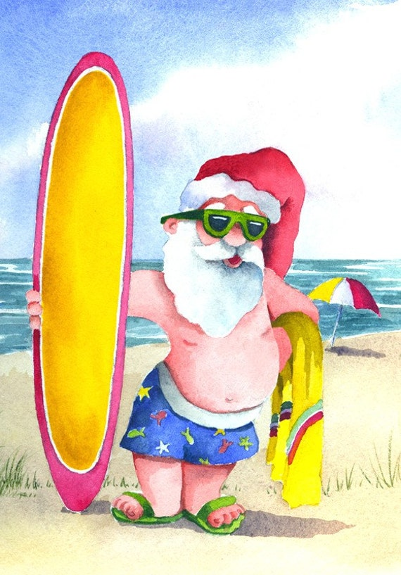 Surfing Santa watercolor print signed and matted (570 x 817 Pixel)
