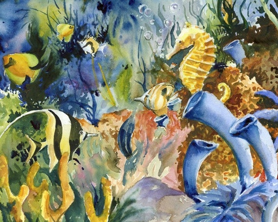 Items similar to Tropical Fish and Seahorse watercolor ...