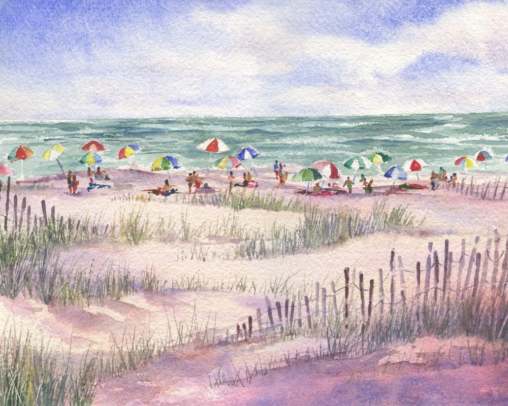 Summer Beach Umbrellas Watercolor Painting Print