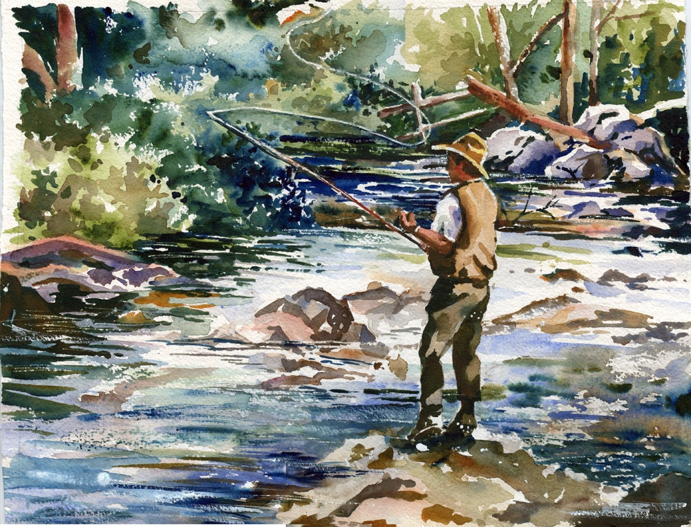 Fly Fishing On The Lake Watercolor Painting Print