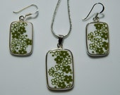 Perfect Gift for any Collector: Pyrex Corelle Green Spring Blossom Square Necklace & Earring Set