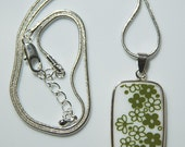 Perfect Gift for any Collector: Pyrex Corelle Green Blossom Square Necklace