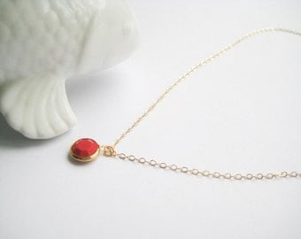 Red Dot Necklace, Red Channel necklace, 14k gold