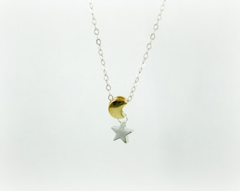 Star and Moon necklace, two tone, Twinkle little star