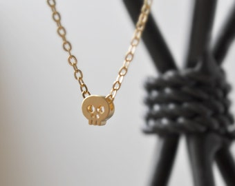 Petite Skull necklace, gold skull necklace