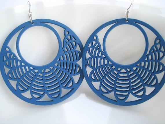 Blue Earrings, Brilliant  Filigree