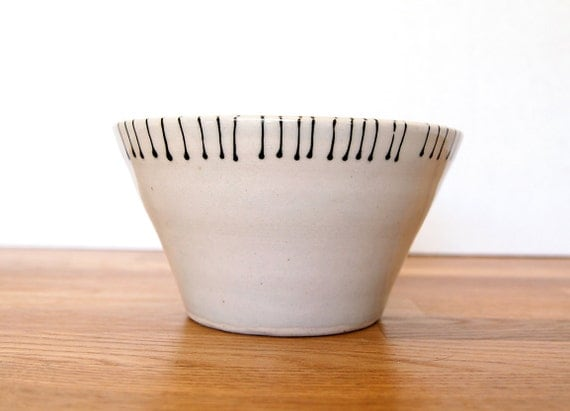 Ceramic Hand Drawn Black Line Thread Design-Bowl