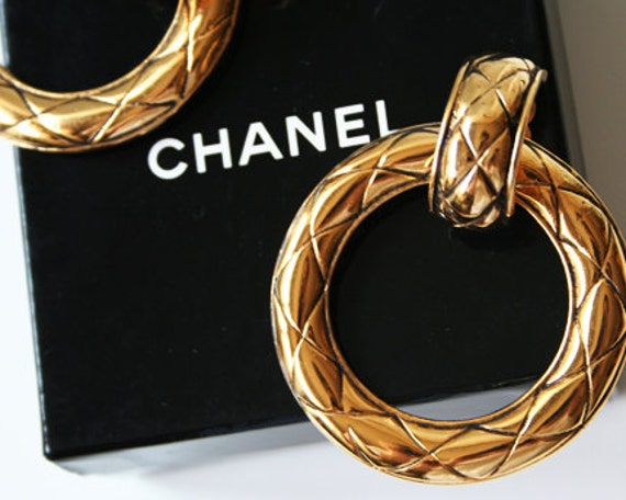CHANEL Hoop Earrings Gold 2way Vintage 1990-1992 Express Shipping Quilted Matrasse