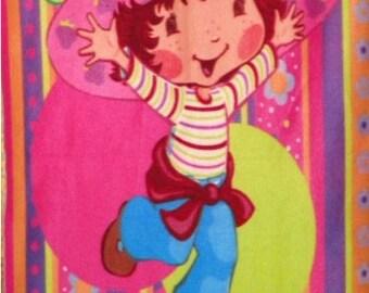 SALE Strawberry Shortcake Stripes Dots Fleece Panel Throw Blanket Soft Warm Wall Hanging New