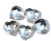 15mm WHITE / CLEAR Super Shiny 3D Heart-shaped Rhinestone, 10 pcs