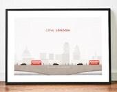 LONDON poster illustration art print LOVE city skyline bridge bus taxi hackney cab