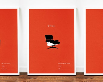3 Mid Century poster eames chair art print for home illustration typography