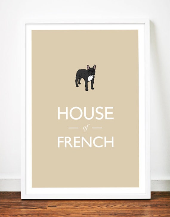 French Bulldog print art poster illustration typography frenchie drawing