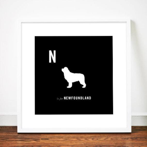 Newfoundland dog print art illustration silhouette typographic typography alphabet
