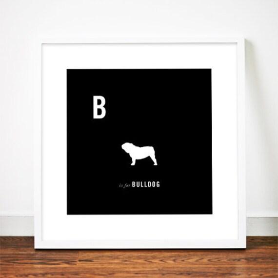 Bulldog art print poster english british illustration typography alphabet
