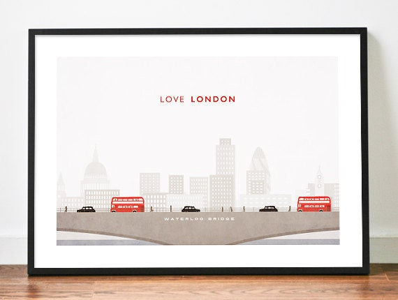 LONDON poster illustration art print LOVE city skyline bridge bus taxi hackney cab