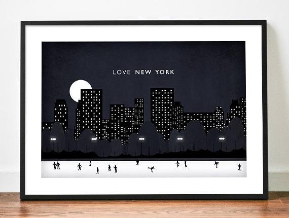 Central Park illustration A3 New York Night poster art print Love city skyline