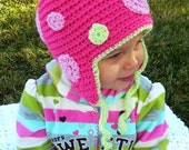 Crochet Hat... Girls and Baby Crochet Hat... Polka dot Winter Hat.... Order any size and any color