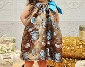 Chocolate Brown and Turquoise Girls dress...Brocade silk dress....Special Occasion dress...birthday dresss..wedding dresss