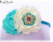 Turquoise Paradise flower headband..Crystal button headband...perfect for special occasions or photo props