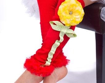 Red and Yellow Legwarmers...Girls Legwarmers....tutu legwarmers