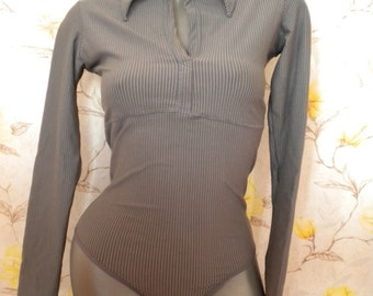clearance sale cotton bodysuit shirt long sleeve thong in gray striped