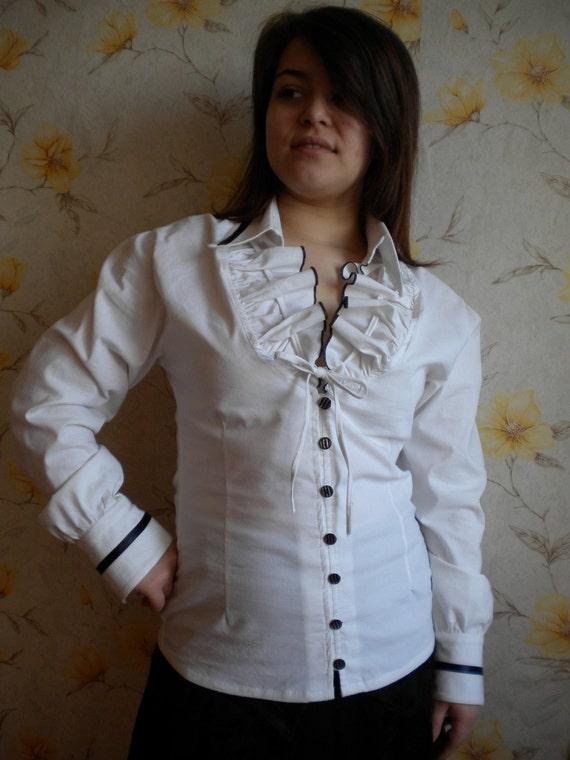 SALE White Ruffle Colar Long Sleeve Shirt