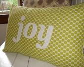 JOY appliqued pillow case 16x24
