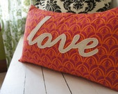 LOVE appliqued pillow case 16x24, orange and deep pink