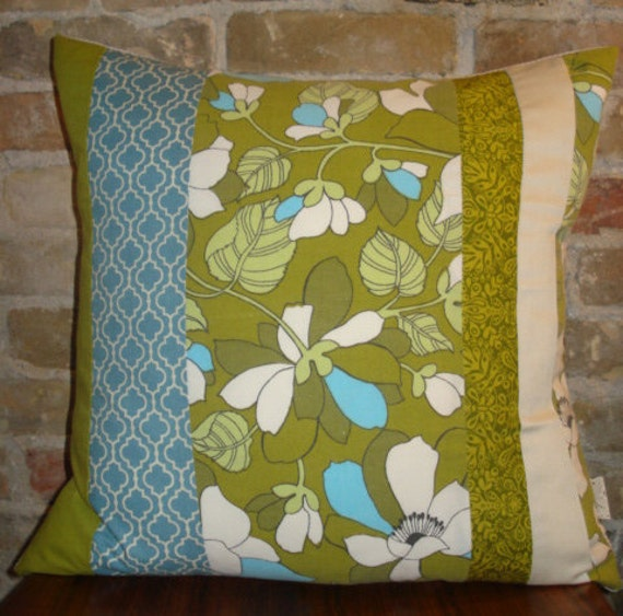 contemporary quilt pillow case 20x20, olive green